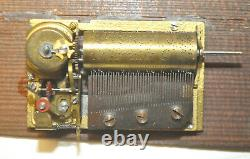 1800's Antique Wood Jewelry Music Box Swiss 42 Note 4 Songs Mechanical Movement
