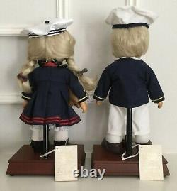1998 Limitied Ed. Precious Moments Rene & Ryan Wooden Music Box Dolls