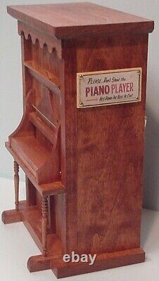 4-Tune Piano Music Box with Pianist & Accessories Hand Made by a Texas Craftsman