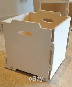 4 x VINYL RECORD STORAGE BOXES. LP 12 STACKABLE SHELF UNIT. Ply Wood