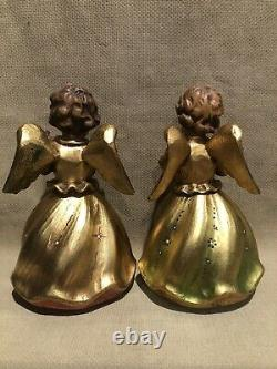 5 Anri Carved Wood Angels Reuge Music Boxs 6 1/2tall. Lite-Flute-Horn-Harp-Vio