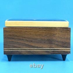 6 Antique Swiss Wood Carved Jewelry MUSIC BOX Edelweiss 15303 Floral Inlay