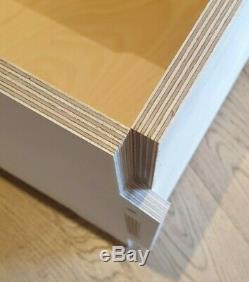 6 x VINYL RECORD STORAGE BOXES. LP 12 STACKABLE SHELF UNIT. Ply Wood