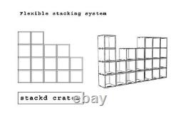 6 xRecord cube record crate stacking box shelves vinyl storage 6xflatpack OSB