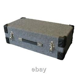 7 Wooden Grey Lockable 7 Inch Vinyl Record Storage Box With Carry Handle