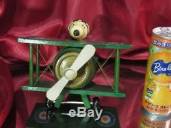 70's Vintage Peanuts SNOOPY Wood carving Music Box Flying Ace Biplane Figure