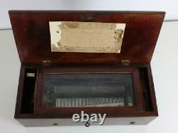 ANTIQUE CYLINDER MUSIC BOX sounds great CLOCK WORK B. A. BREMOND 6 AIRS hear now