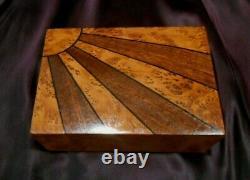 Antiq Swiss Thorens Thuya Wood Sunburst Veneer Jewelry-music Box 2 Tunes Video