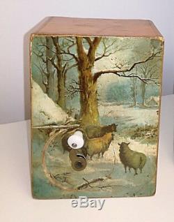 Antique 1894 German wood music box musical manivelle movement animals décor