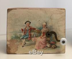 Antique 1900 German wood music box musical manivelle movement romantic couple