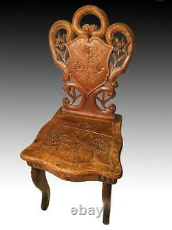 Antique 19th c Black Forest Wooden Carved Walnut Childs Music Box Chair 26