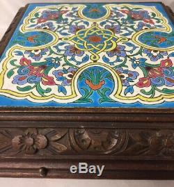 Antique 4 Airs Majolica Tile Trivet Carved Wood Music Box