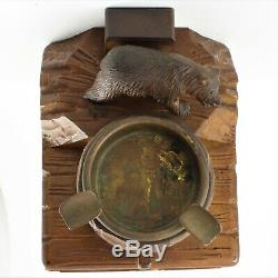 Antique Black Forest wood carved Swiss Bear statue music box ashtray Onyx Eyes
