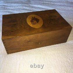 Antique Burl Wood Top Dresser Box Inlaid Horse Top Music Box w Fitted Interior