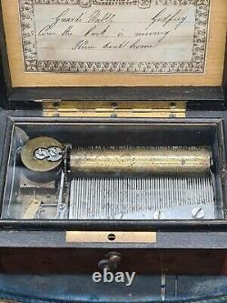 Antique Cyclinder Music Box by C. Paillard & Cie, Switzerland, 1860s
