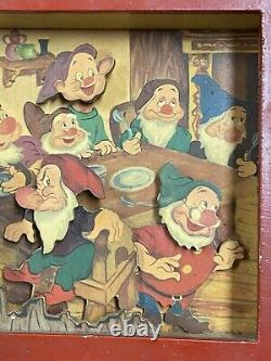 Antique Disney toy music box window Plays The Tune heigh ho Rare Wood Diorama