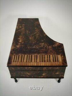 Antique French Grand Piano Musical Sewing Necessiare Box Palais Royal 1830's