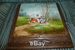 Antique French Musical Tile Trivet Carved Wood Box Some Smoke / Arizona Tunes