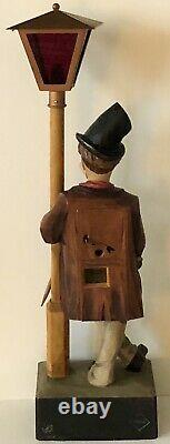 Antique GERMAN Hand CARVED Wood HOBO WHISTLER Karl Griesbaum Automaton Music Box
