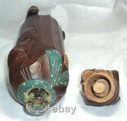 Antique Homeless Old Man Carved Wood Mayr Fessler Wien Music Bottle Box Folk Art