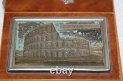Antique Italian Ballerina Dancer Burl-wood Music Box Roma iL Colosseo Parts