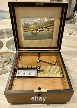 Antique Kalliope Disc Musical Box 13 1/2 fully restored mechanism + 10 Discs