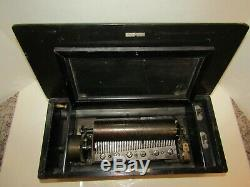 Antique Metal Roller Wood Case Music Box Mechanical Lever Gears Music Working