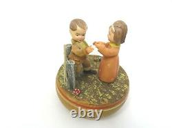 Antique Multi Color Dolls Boy & Girl Wood & Rubber Music box Made in USA