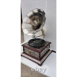 Antique Phonograph Working Vintage Wooden Gramophone Music Box Brass And Wood