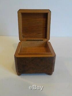 Antique Swiss Burl Walnut Miniature Music Box, c. Early-1900's