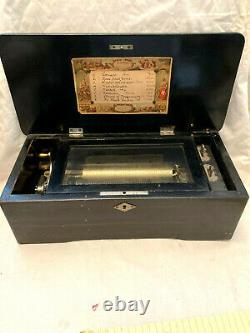 Antique Swiss Cylinder Wood Inlay Music Box 8 Airs Song Tune 42 Note