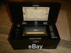 Antique Swiss MSF 6 Airs 1840 Etouffoirs En Acier Soit A Spiraux Wood Music Box