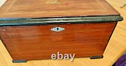 Antique Swiss Music Box with 3 Bells in View Listen