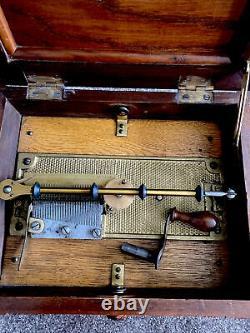 Antique Symphonion Disc Musical Box 12x10 Fully Working Mechanism + 24 Discs