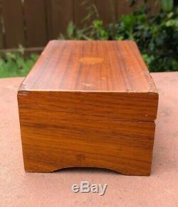 Antique Thorens Swiss Wood 3 Songs Music Box 5 5/8 x 3 5/8