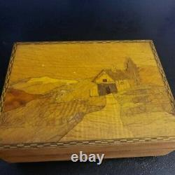 Antique Walnut Reuge Swiss Music Box Inlaid Wood Plays Carol Of The Bells
