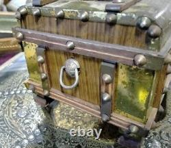 Antique Wooden Music Box Spanish Work First Half 20th Century Old Box Carrascal