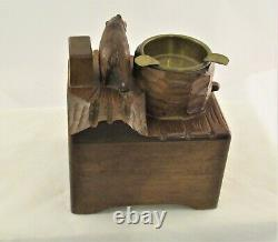 Antique hand carved Black Forest bear ashtray cigarette box music box WORKS! VGC