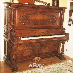 B. Shoninger Burl Walnut wood music box jukebox player piano digital pneumatic