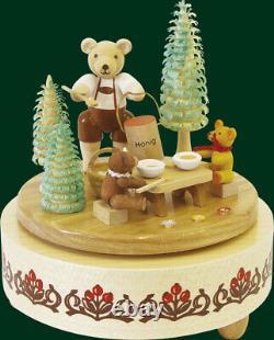Bear Music Box Honey Mechanism Handmade Seiffen Christmas Figure 47801