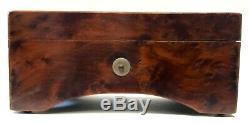Beautiful Antique Miniature Musical Box In Amboyna Wood Case