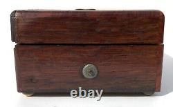 Beautiful Antique Miniature Musical Box In Wood Case Two Tunes