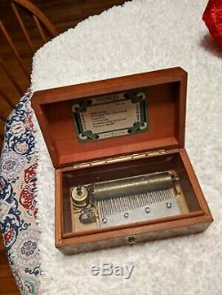 Beautiful Finish Vintage Wood Music Box By Thorens 6 Songs Made In. #32