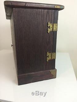Beautiful Musical Jewelry Wood Box Antique Wooden & Brass 19 X 11 X 7 1/2