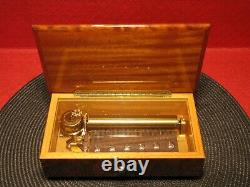 Beautiful Reuge Music Box 72 Note Swiss Movement 3/72 Wood Case Inlay Works
