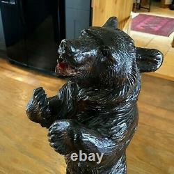 Black Forest Bear Swiss Music Box Decanter Antique Carved Wood C1900 In Vgc