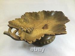 Black Forest Wooden Hand Carved Music (Swiss Movement) Box Leaf Grape Bowl