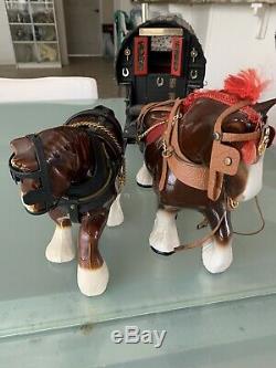 British Folk Art History Wood Covered Wagon Porcelain Horses Musicbox 30 X 12