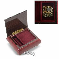 Butterfly Glossy Red Wine Italian Inlaid Wood Music Box Plays Fur Elise