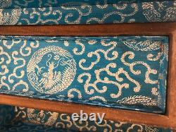 Chinese Wood Carved Musical Jewelry Treasure Box Dragon Inlay Secret Drawer